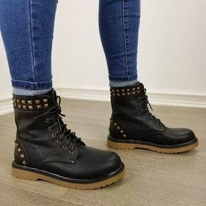 Shoes - Rocker chick laced up combat boots w/ metal studs
